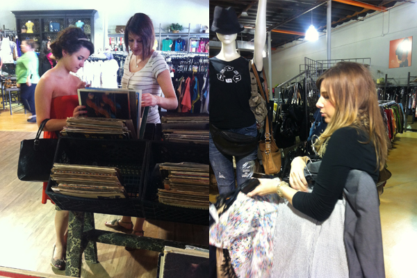left: Jill & Laura checking out some vintage records, right: me, shopping