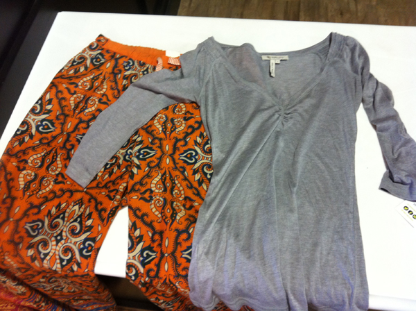 A gray BCBG henley is paired with printed pajama pants