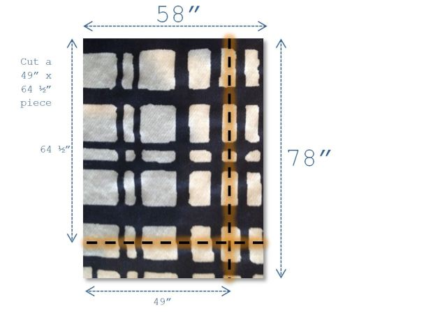 DIY Drapery Panels - Navy and White Tablecoth to Cut
