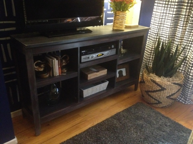 DIY Gray Washed Laminate Entertianment Center - Completed