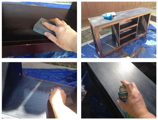 DIY Gray Washing Laminate Entertainment Center Steps