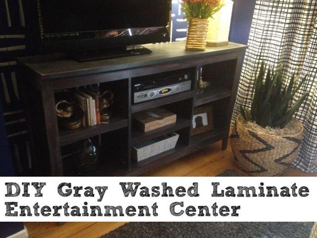 DIY Gray Washing Laminate Entertainment Center