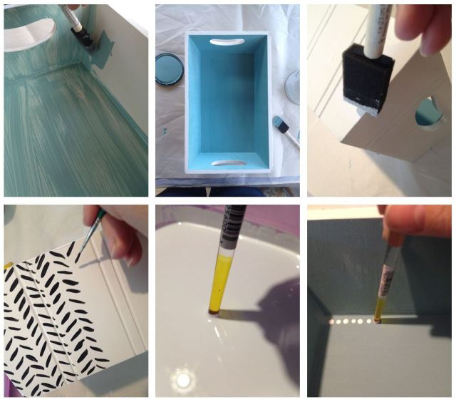 DIY Mid Century Modern Motif Tray - Painting Steps