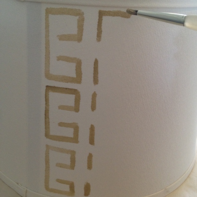 Step 3 for a DIY Painted Lamp Shade: Paint your pattern starting at the back seam