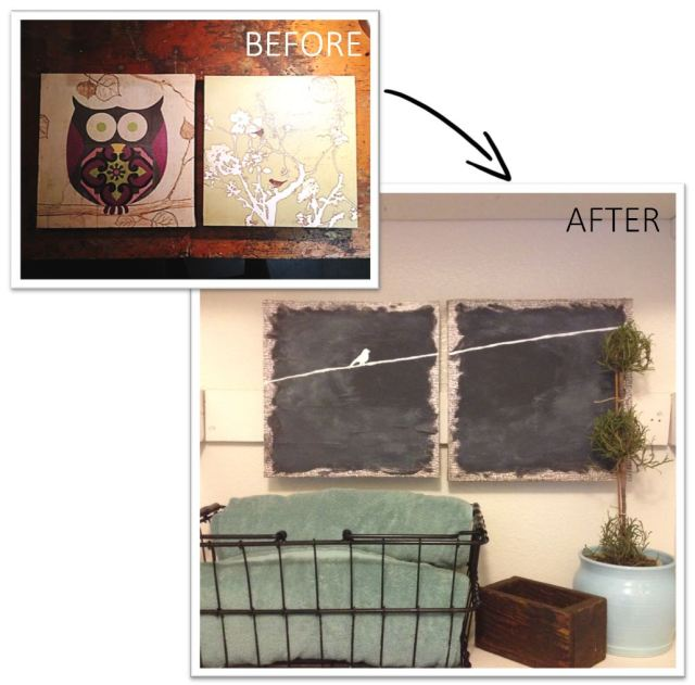 Before and After DIY Repurposed Art Canvanses from Goodwill