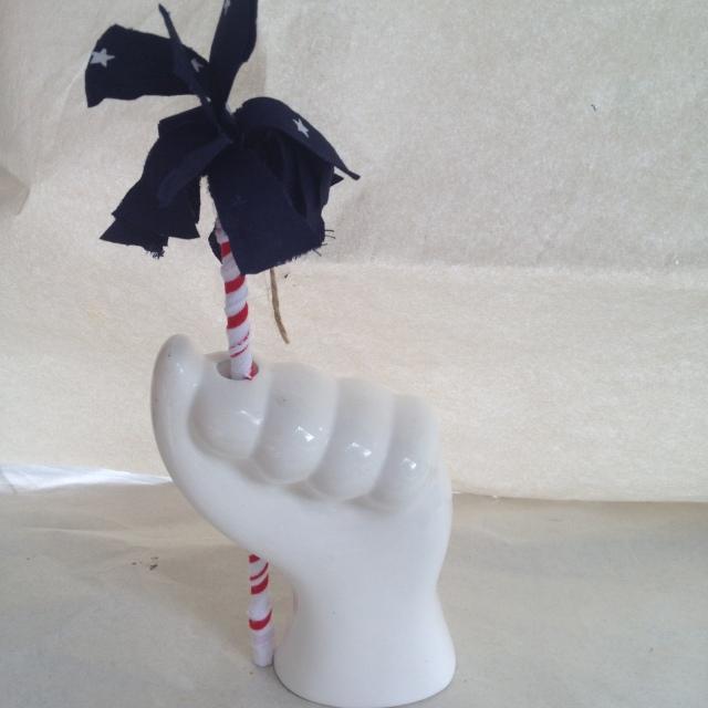 DIY Fabric Sparkler in Hand Vase