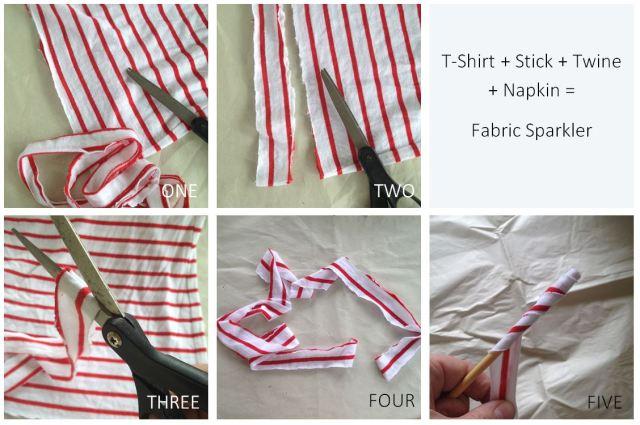 DIY Fabric Sparkler Steps 1 to 5