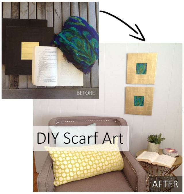 DIY Scarf Art Before and After