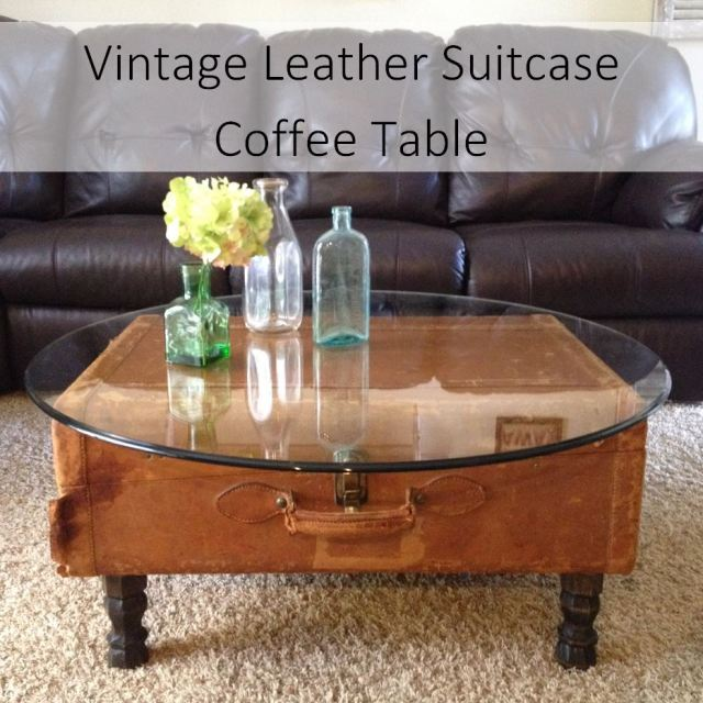 DIY Vintage Leather Suitcase Coffee Table