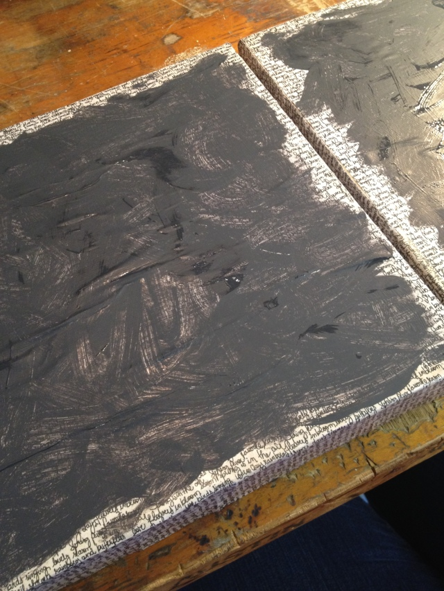 Step 12-After both canvases are painted with charcoal paint begin the next step prior to them drying completely