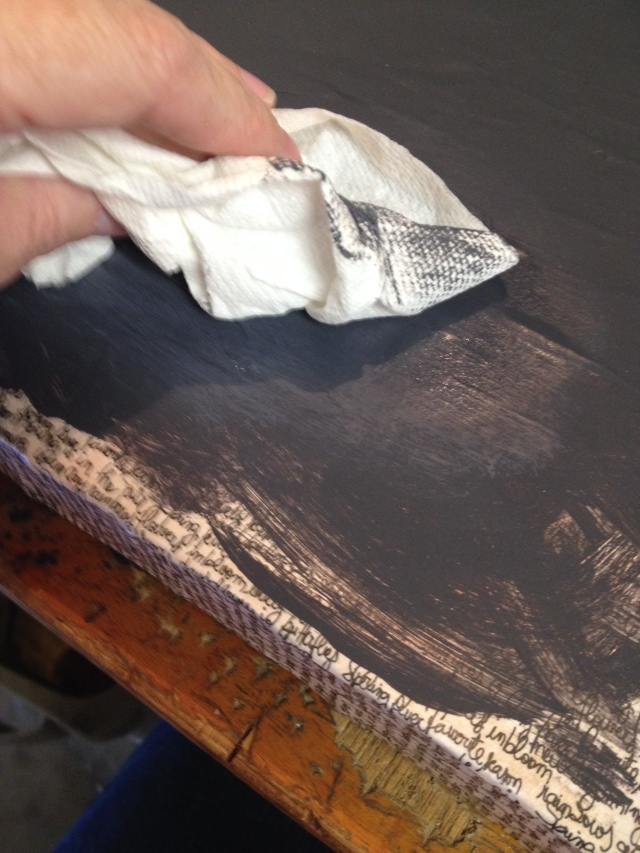 Step 14-With a paper towel blend the white paint in until you get a chalkboard effect