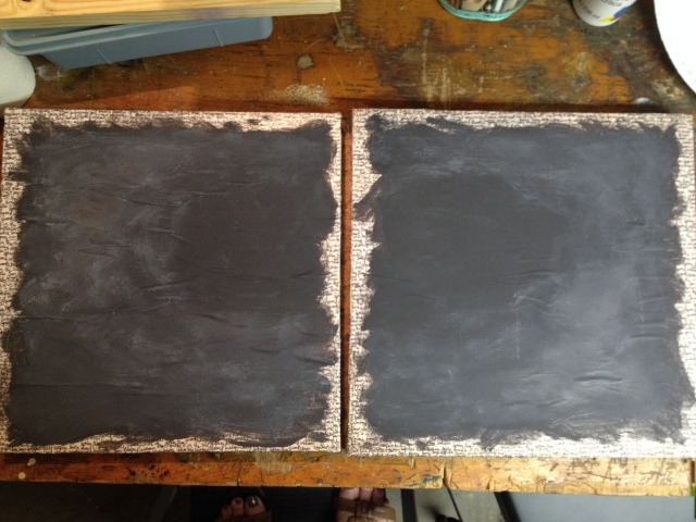 Step 15b-The loose oval in charcoal unify the canvases and creates a point-of-focus.  Set aside to dry