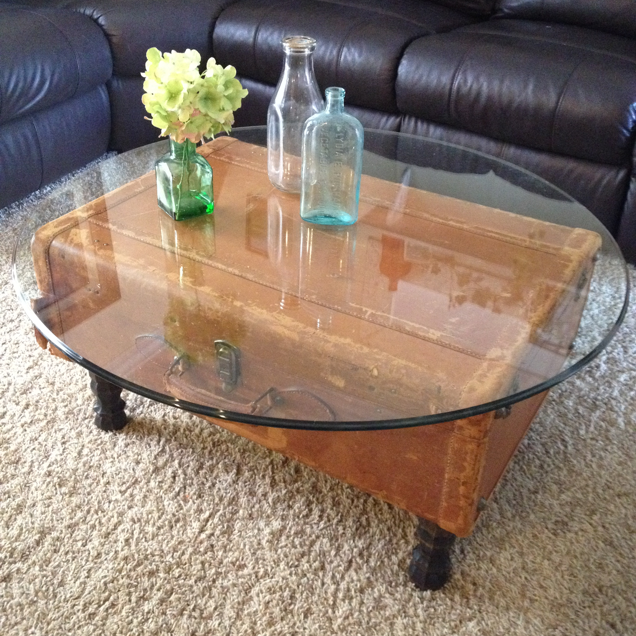 vintage leather suitcase coffee table | goodwill of orange county blog
