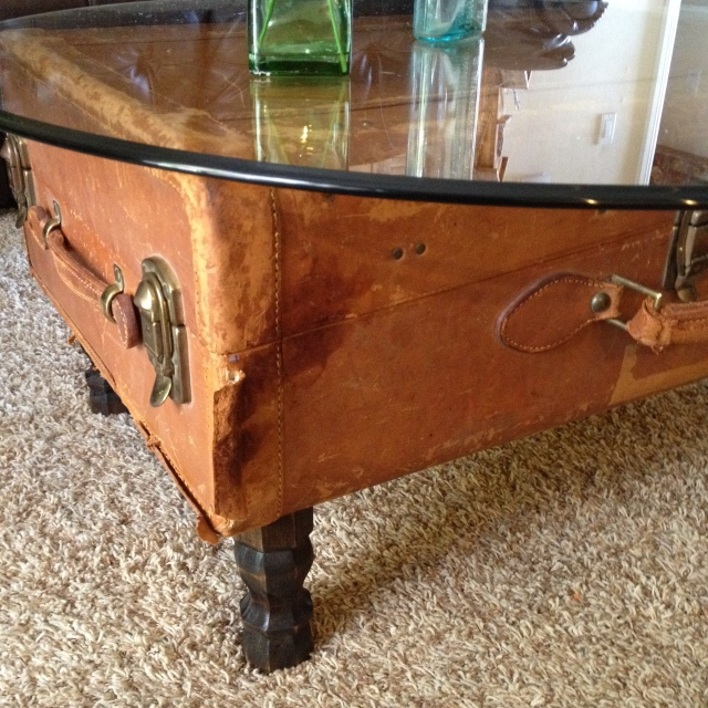 Vintage Leather Suitcase Coffee Table b