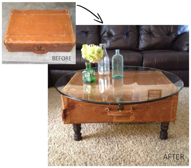 Vintage Leather Suitcase Coffee Table Before and After