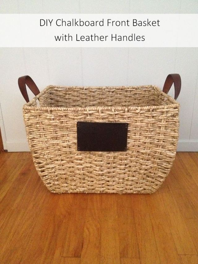 DIY Chalkboard Front Basket with Leather Handles