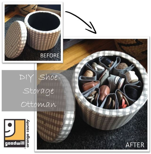 DIY Shoe Storage Ottoman