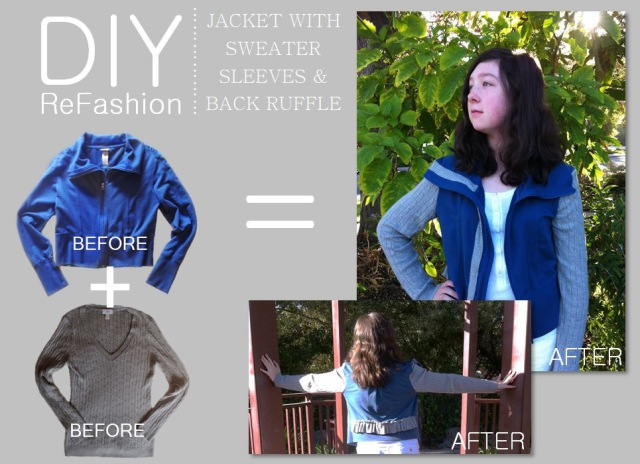 diy-refashion-jacket-with-sweater-sleeves-and-back-ruffle-before-and-after-