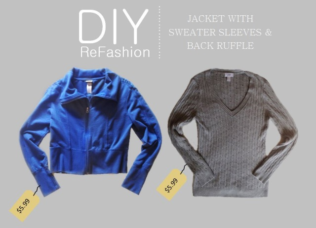 diy-refashion-jacket-with-sweater-sleeves-and-back-ruffle-before-