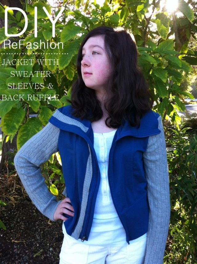 DIY ReFashion Jacket with Sweater Sleeves and Back Ruffle