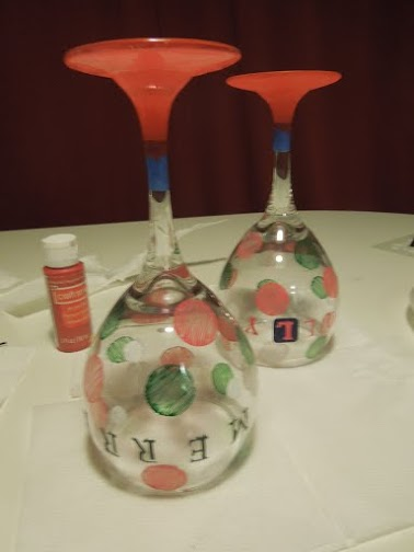 wine glasses painted bottom