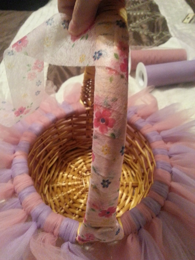 Tutu Easter basket adding the ribbon Goodwill inspired