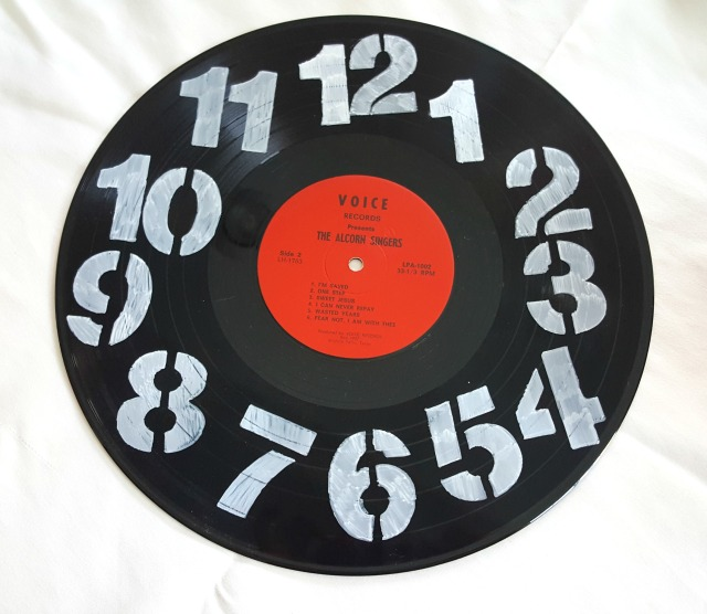 finished stencil record clock