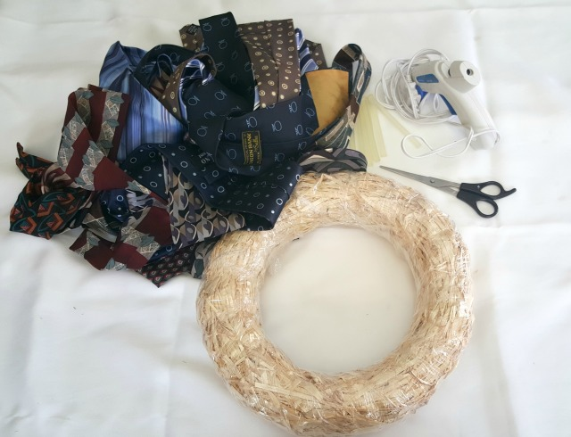 DIY Necktie Wreath Supplies