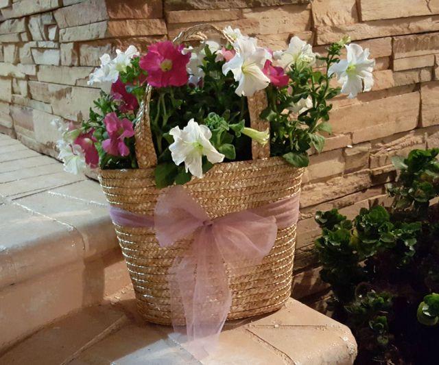 pretty flowers in a repurposed purse OC Goodwill